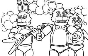 Раскраска Музыкальная банда Фредди