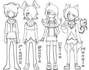 Раскраска аниматроники аниме