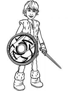 Иккинг с щитом и мечом раскраска