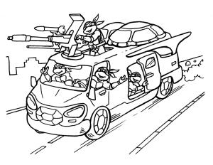 Черепашки ниндзя на машине
