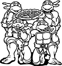 Раскраска черепашки ниндзя с пиццей