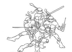 Раскраска Черепашка ниндзя