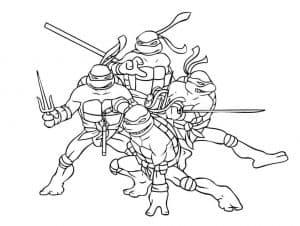 Раскраска с черепашками ниндзя