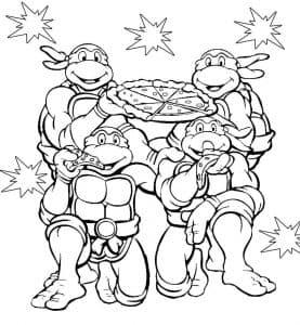 Раскраска черепашки ниндзя и пицца