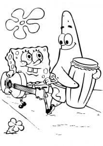 Губка боб и Патрик с музыкальными инструментами