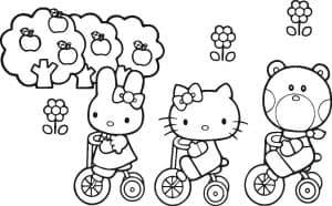 Хелло Китти и друзья на велосипедах