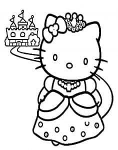 Раскраска Хелло Китти принцесса