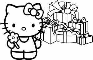 Раскраска Хелло Китти и подарки