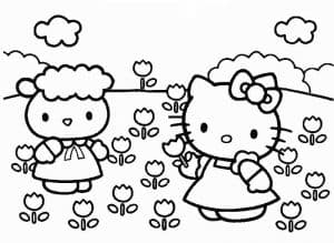 Хелло Китти собирает цветы