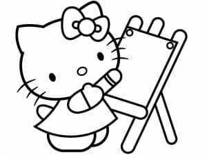 Раскраска Хелло Китти рисует