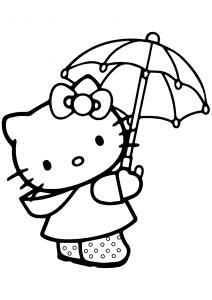 Хелло Китти с зонтом