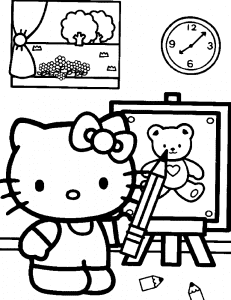 Хелло Китти рисует