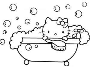 Раскраска Хелло Китти в ванной