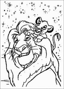 Король и Симба раскраска