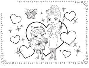 Раскраска Хейзел с мамой