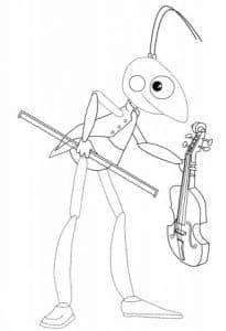 Кузнечик Кузя со скрипкой