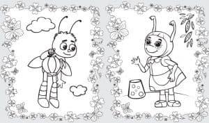 Мила и Пчеленок раскраска