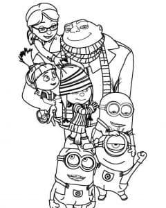 Миньоны и Агент Грю раскраска