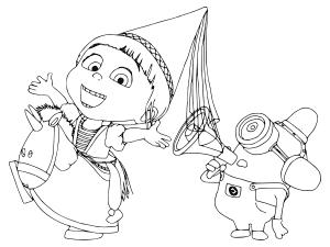 Девочка и миньон с рупором