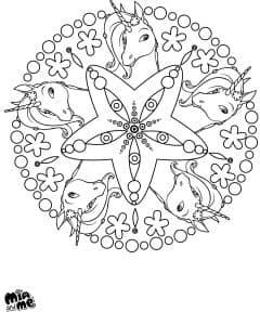 Раскраска Мия и Я - Единороги