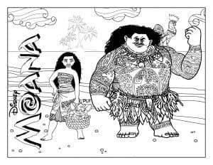 Моана и Мауи на пляже