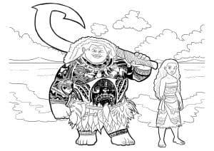 Раскраска Моана и Мауи