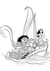 Моана и Мауи на лодке