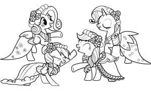 Четыре пони раскраска