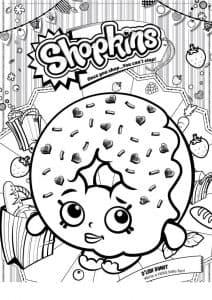 Шопкинс пончик раскраска