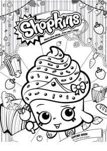Шопкинс пирожное раскраска детская