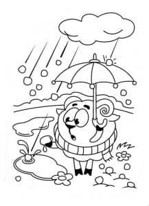 Бараш под дождем раскраска