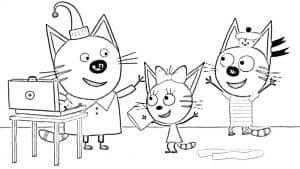 Папа кот с Карамелькой и Коржиком
