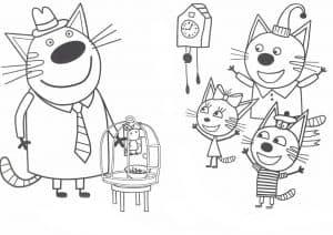 Три кота радуются раскраска