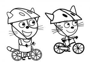 Карамелька с подружкой на велосипедах