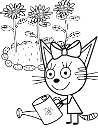 Карамелька поливает цветы