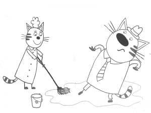 Мама и Папа Кот убирают