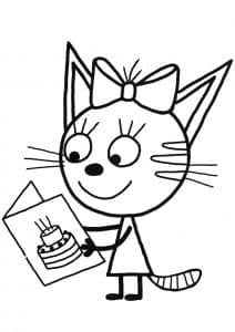Котенок Карамелька с открыткой