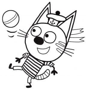 Котенок Коржик набивает мяч