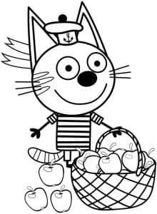 Котенок Коржик с корзиной яблок
