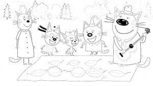 Три кота на пикнике раскраска