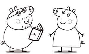 Папа свин с книгой и мама