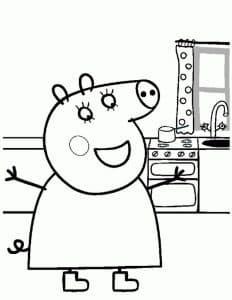 Мама свинка на кухне
