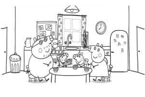 Семья свинки Пеппы за столом