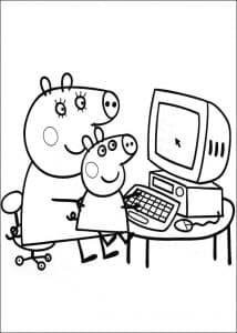Мама свинка и Пеппа за компьютером