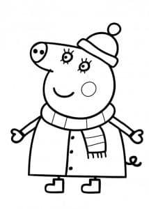 Свинка Пеппа в шарфе и шапке