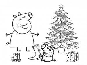 Свинка Пеппа возле елки