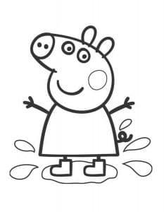 Свинка Пеппа прыгает в луже