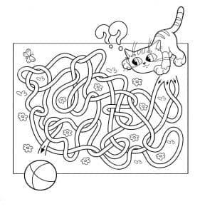 Помоги кошечке пройти лабиринт