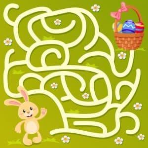помоги зайке добраться до яиц