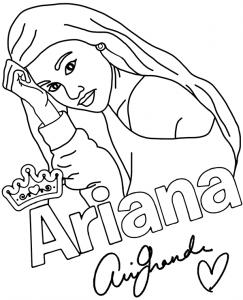 Раскраска Ариана Гранде в формате А4